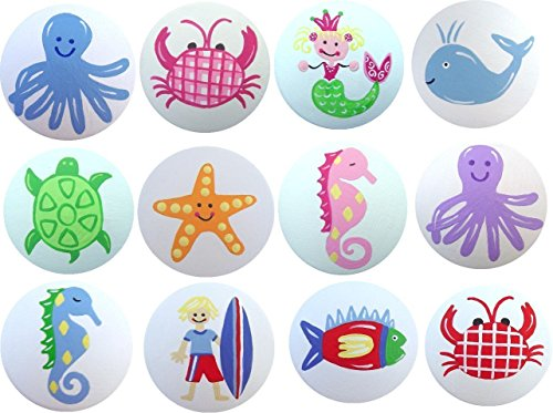 Hand Painted Doors (Colorful Hand Painted Decorative Sea Life Aquatic Beach Kids Drawer Knobs Pulls Choose Your Designs (SINGLE KNOB))