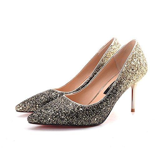 yalanshop Élégant Chaussures de mariage 亮 亮 élégant Chaussures de mariage à pointe fine avec Tempérament Chaussures de princesse Déesse, Doré, Noir, 38