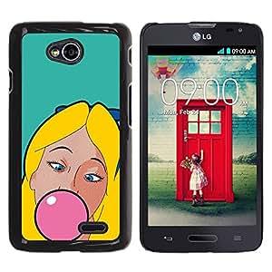 PC/Aluminum Funda Carcasa protectora para LG Optimus L70 / LS620 / D325 / MS323 Chewing Gum Bubble Pink Blonde Girl Woman / JUSTGO PHONE PROTECTOR