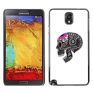Ihec Tech Cráneo divertido Muerte Blanco Rosa Negro / Funda Case back Cover guard / for Samsung Note 3 N9000