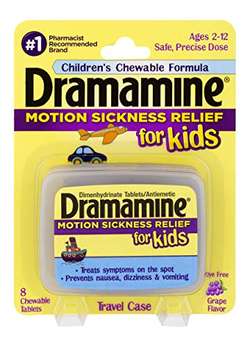 Dramamine Motion Sickness Relief for Kids | Chewable Grape | 8 Count | 2 Pack ()
