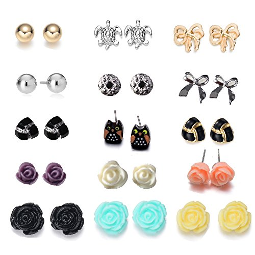 Onnea 15 Pair/Pack Assorted Stud Earrings Set(Disc Ball,Rose Flower, Owl, Triangle ,Bowknot)