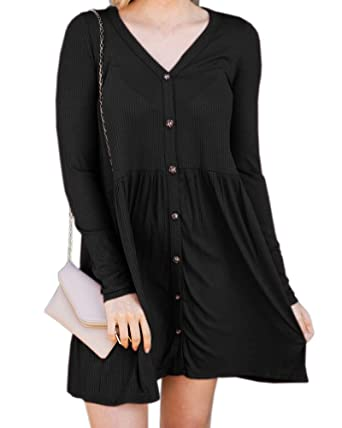 0d43faeb1061 Caitefaso Womens Button Down Tunic Dresses Long Sleeves Casual Work Ribbed  Knit Swing Sweat Dress Black