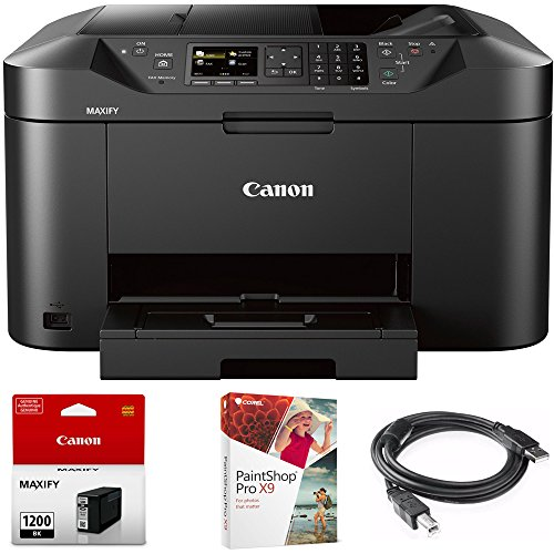 Canon MAXIFY MB2120 Wireless Color Printer w Scanner,Copier,Fax (MB2120) with Black Pigment Ink Tank, Corel Paint Shop Pro X9 Digital Download & High Speed 6-Foot USB Printer Cable
