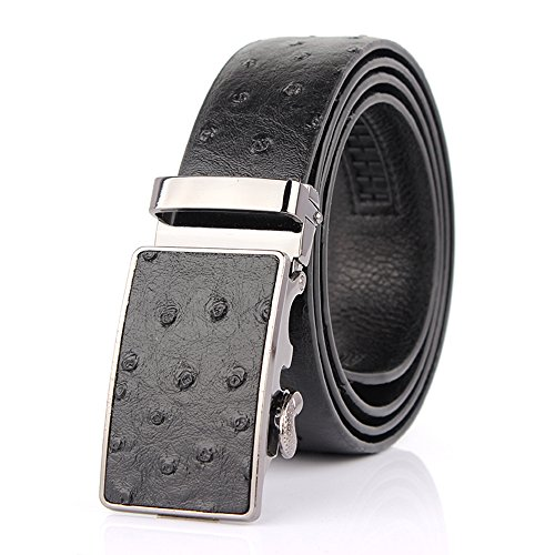 Sumcoa Men's Ostrich Skin Embossed Pattern Automatic Buckle Genuine Cow Leather Belts Ratchet Belt 35mm Wide 5 Color