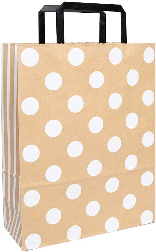 Paper Bag with Handles (100 Pcs Bulk) with Modern and Simple Patterns - Shopping, Party, Wedding, Gift, Food Service, Multi Purpose (White DOT/M Size)