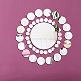Alrens(TM)Silver 41pcs Big and Small Rounds Combination Mirror Wall Decor DIY 3D Acrylic Mirror Effect Wall Sticker Removable Home Decoration Sofa Background Living Room Mural Decal