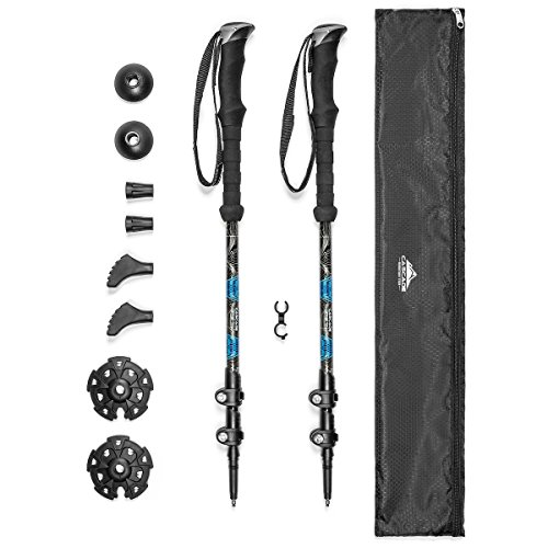 Cascade Mountain Tech Carbon Fiber Adjustable Trekking Poles 2 Pack - Lightweight Quick Lock Walking or Hiking Stick - 1 Pair