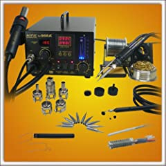 The NEW 968A+ has the following new features: 70 watt soldering iron with smoke absorber, Digital Display for the Soldering Iron Temperature, Soldering Iron Holder, Vacuum Pickup Kit, 10 Soldering iron tips, Spare Heating Elements for the iro...
