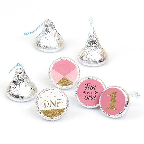 1st Birthday Girl - Fun to be One - Party Round Candy Sticker Favors - Labels Fit Hershey's Kisses (1 sheet of 108) ()