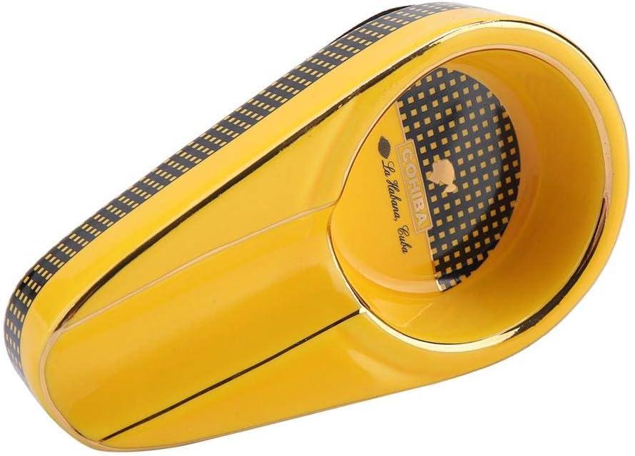 Yellow Mini Sigaro Portacenere Portatile Elegante Smerlo da Tavolo Classico Ceramica Sigaretta Portacenere Titolare Cenere per Uso Interno Casa Decorazione Dellufficio