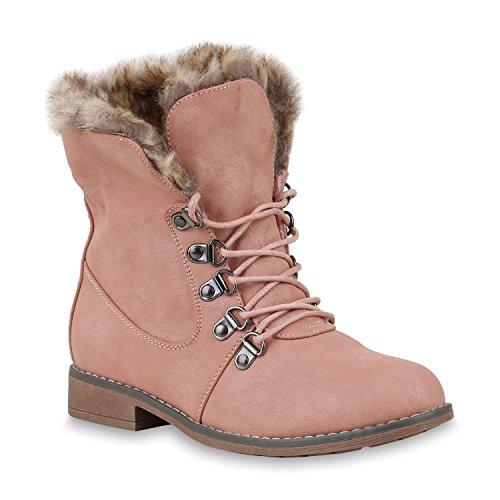Damen Schuhe Worker Boots Warm gefüttert mit Blockabsatz Flandell Rosa Brooklyn