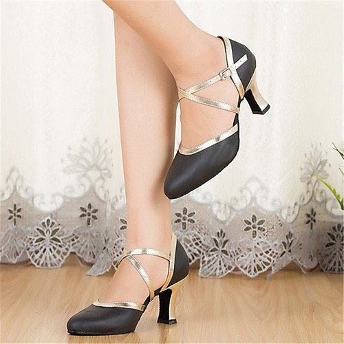 Dance T Heels Stiletto T Shoes Black Black Q Heel Leather Women's dtxx1q