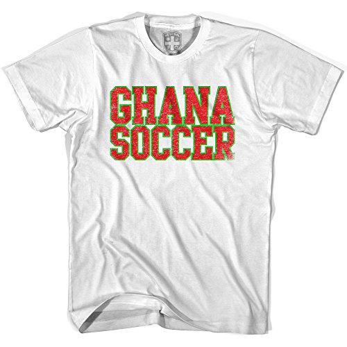 (Ghana Soccer Nations World Cup T-shirt, White, Adult Large)