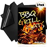 "Ankway Grill Mat, Upgraded Non Stick Heavy Duty BBQ Grilling Mats for Gas, Charcoal, Electric Grill (2pcs 16"" X 13"", 1pcs 20"" X 16"" )"