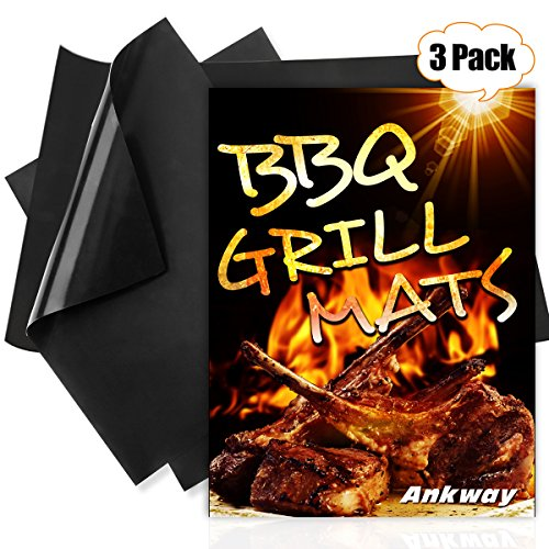 For Sale! Ankway Non Stick Grilling Mats, (Set of 3) Non Stick Grill Mats Reusable Heavy Duty BBQ Gr...