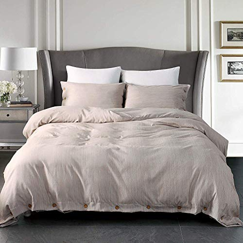 Top Finel Queen Duvet Covers Sets Button Closure with 2 Pillow Shams 3pcs Yarn-Dyed Linen Like Soft Solid Comforter Cover, Pale Khaki