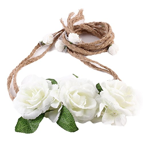 Alonea Women Weave Long Handmade Flower Hairband Crown Wedding Wreath Bridal Headdress (H)