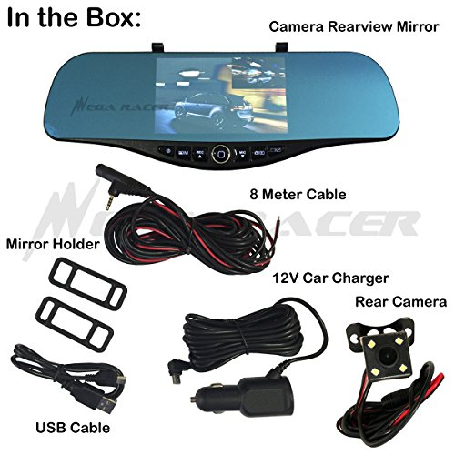 Universal 5'' Monitor 1080P Full HD Blue Tint Car Front/Backup Rear Camera Video Recorder Rearview DVR Cam Inside Mirror by Mega Racer (Image #1)