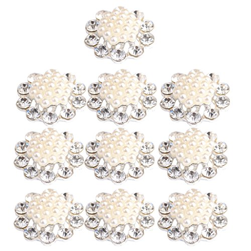 Rhinestone Pearl Buttons Silver Plated Metal Base Flatback Embellishments Scrapbook for Phone/Wedding/Crafts - 4 ()