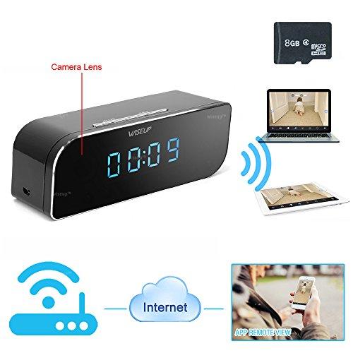 WiseupTM 8GB 1280x720P Wifi Network Hidden Camera Clock Moti