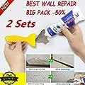 Highpot 2PC Wall Repair Cream Wall Surface Waterproof,DIY Wall Cracks Repair Ointment Magic White Latex Paint Remove Wall Graffiti