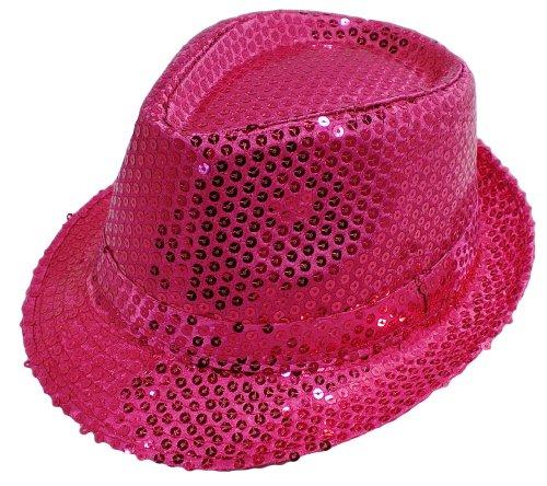Funkeet Adult Sequin Fedora Hat Kid Dance Cap Solid Jazz Hat Party Glitter Costum (Small, Deep Pink)