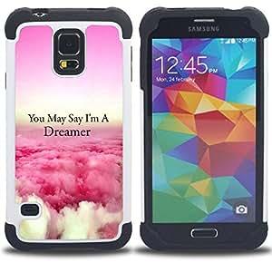 Dragon Case- Dise?¡Ào de doble capa pata de cabra Tuff Impacto Armor h??brido de goma suave de silicona cubierta d FOR Samsung Galaxy S5 I9600 G9009 G9008V- FLYING QUOTE DREAMER ABOVE PINK CLOUDS