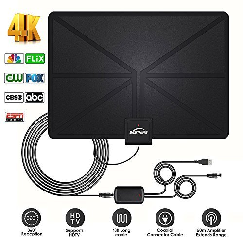 a - Best Amplified HDTV Antenna 60 Mile Range Support 4K 1080p, VHF UHF Freeview Channels With Detachable Amplifier, Power Adapter and 13.2ft Longer Coax Cable ()