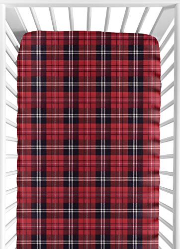 Sweet Jojo Designs Red and Black Woodland Plaid Flannel Baby or Toddler Fitted Crib Sheet for Rustic Patch Collection