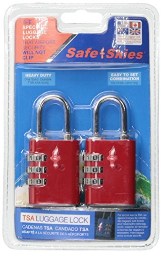 Safe Skies TSA Compatible Travel Luggage Locks, Inspection Indicator, Easy Read Dials - 2 Pack