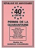 Carte Permis de la Quarantaine 40 x20.50 cm