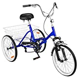 Happybuy 20 Inch Adult Tricycles Series Wheel Bikes for Adult Tricycle Trike Cruise
