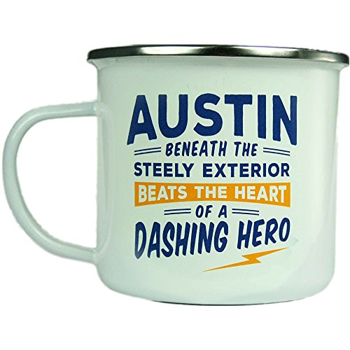 Austin, Large Camping Coffee Mug, Enamel, 14 oz, Multi-Colored, Light-Weight, Retro Inspired for Men