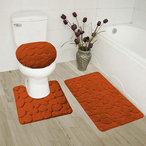 Golden Linens Solid Color Stone Rock Embossed Stand Out Style Design Bathroom Memory Foam 3 Pieces Set (1 Bath Rug, 1 Contour Mat, 1 Lid Cover) with Non-Slip Rubber Backing - Contour Rust Rugs