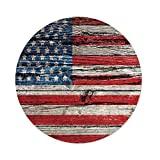 Polyester Round Tablecloth,Rustic American USA Flag,Fourth of July Independence Day Painted Wooden panel Wall Looking Image Freedom,Dining Room Kitchen Picnic Table Cloth Cover,for Outdoor Indoor