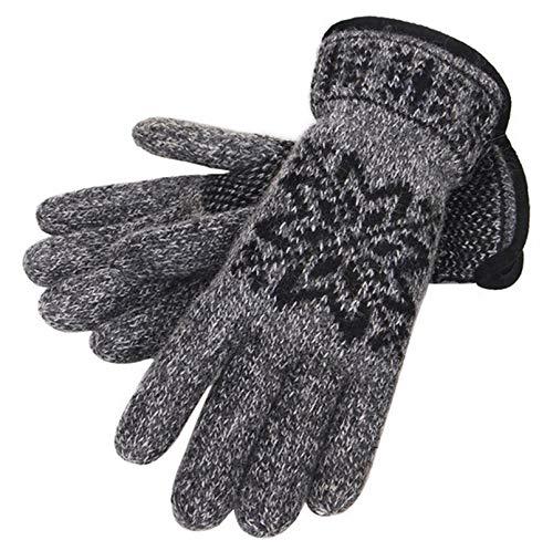 EoCot Knitting Gloves Full Finger Men Velvet Thicken Outdoor Riding Wool Gloves Grey