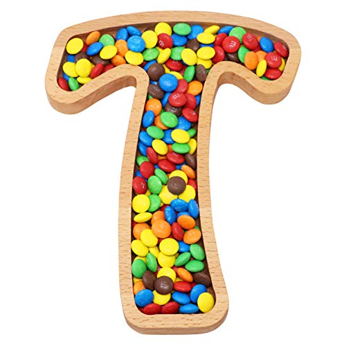 Wooden Letter T Candy Dish | Monogram Nut Bowl | Snack, Cookie, Cracker Serving Plate | Decorative Display, Home Accessory | Unique Gift Idea | for Date, Baby Shower, Birthday Party | Large Size]()