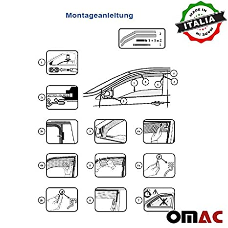 Omac GmbH FIAT 500X Windabweiser Regenabweiser 2 tlg Satz Vorne ab 2015