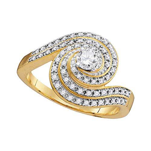 Diamond Solitaire Swirl Engagement Ring Wedding Anniversary 1/2ct 10k Yellow Gold ()