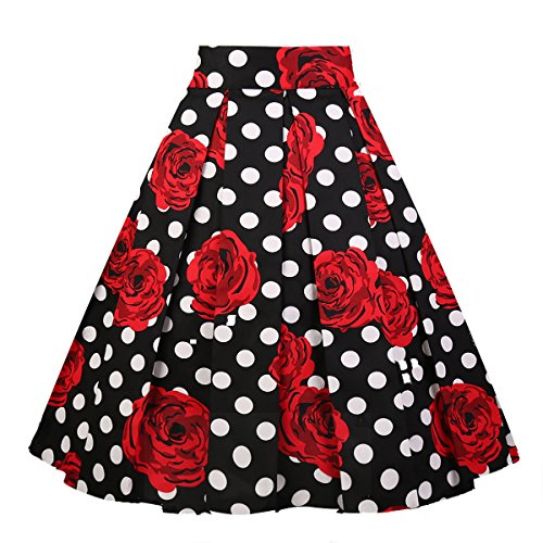 Girstunm Women's Pleated Vintage Skirt Floral Print A-line Midi Skirts with Pockets White-Dot Rose XX-Large