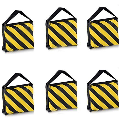 Neewer 6 Pack Dual Handle Sandbag, Black/Yellow Saddlebag for Photography Studio Video Stage Film Light Stands Boom Arms Tripods