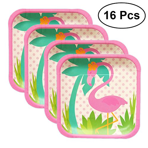BESTONZON 16pcs Flamingo Dinnerware Set Tableware Disposable Paper Plate for Hawaiian Flamingo Party Supplies(7 Inch Square)