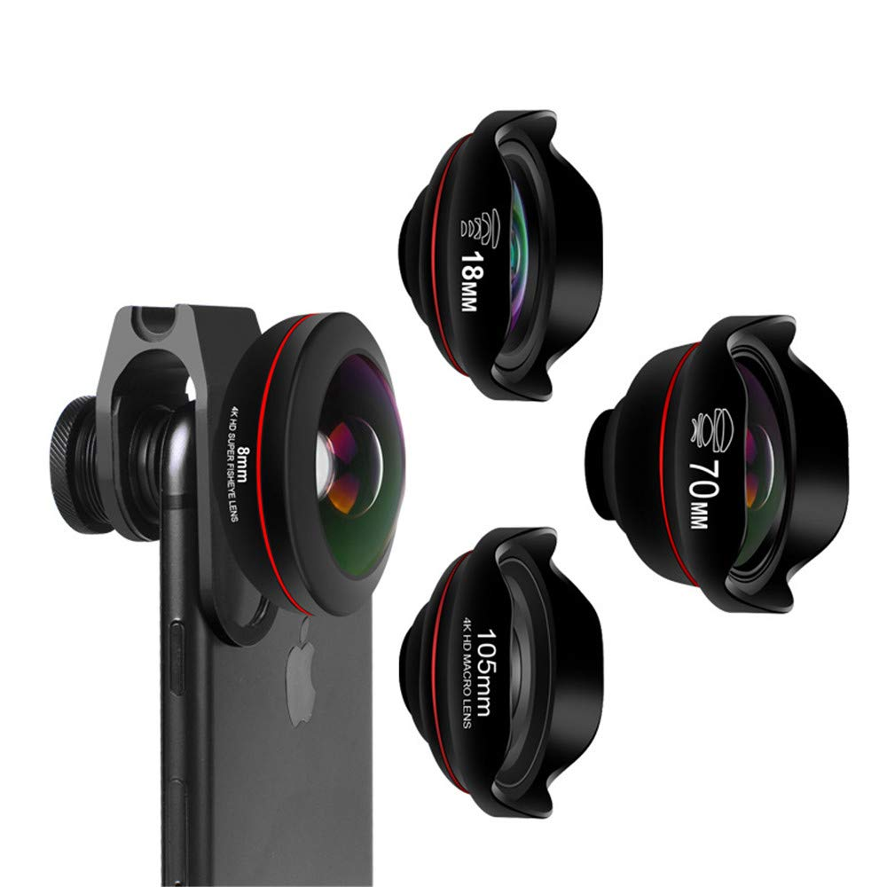RBH Mobile Phone Camera Lens 4 in 1 Wide-Angle Lens Macro Lens Fisheye Lens Telephoto Lens Camera Lens Set Clip-On Smart Phone Zoom Lens for All Smartphones