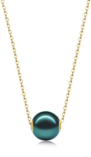 10mm Tahitian Pearl Pendant 18K Gold Necklace