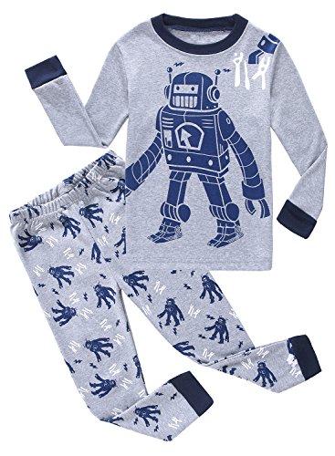 Little Pajamas Boys Pajamas Robot 100% Cotton Toddler Pjs Kids Sleepwear 2t Boys (Cotton Kids Pajamas)