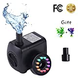 HISP Fountain pump 12LED Super silent Small Submersible Water pump(800L/H 15W) 220GPH Aquarium pump outdoor fountain pumps for Pond Fish Tank,Aquarium,Hydroponics with 2 Nozzle