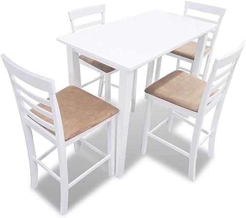 vidaXL Juego de Mesa Alta Bar con 4 Taburetes MDF Blanco y Beige Mueble Cocina: Amazon.es: Hogar