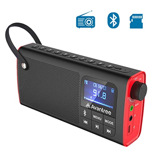 Avantree Portable FM Radio with Bluetooth Speaker and SD Card Player 3-in-1, MP3 Player with Headphones Socket, Auto Scan Save, LED Display, Rechargeable Battery Transistor Radio (No AM) - SP850 (Bicycle Radio Fm)
