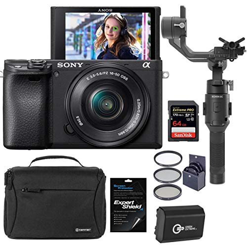 Sony Alpha a6400 24.2MP Mirrorless Camera with 16-50mm f/3.5-5.6 OSS Lens - Bundle With DJI Ronin-SC Gimbal Stabilizer, Shoulder Bag, 64GB SDXC Memory Card, Spare Battery, Screen Protector, Filter Kit